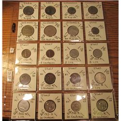 "(20) World Coins in 2"" x 2"" holders and plastic page from  India, Indonesia, Iran, and Italy. Total"