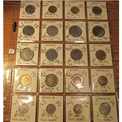 "(20) World Coins in 2"" x 2"" holders and plastic page from  Jamaica and Italy. Total Krause/Mishler b"