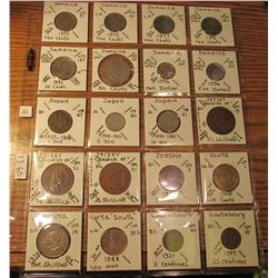 "(20) World Coins in 2"" x 2"" holders and plastic page from  Jamaica, Japan, Jersey, Jordan, Kenya, So"