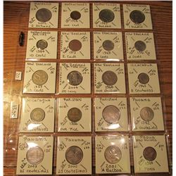 "(20) World Coins in 2"" x 2"" holders and plastic page from Morocco, Netherlands, Netherlands Antilles"