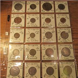 "(20) World Coins in 2"" x 2"" holders and plastic page from Papua New Guinea, Peru, & Philippines. Tot"