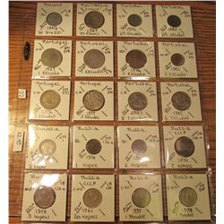 "(20) World Coins in 2"" x 2"" holders and plastic page from Poland, Polynesia, Portugal, Rhodesia, & R"