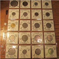 "(20) World Coins in 2"" x 2"" holders and plastic page from  Russia, Sierra Leone, Singapore, South Af"