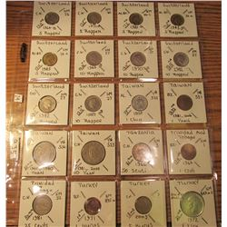 "(20) World Coins in 2"" x 2"" holders and plastic page from  Switzerland, Taiwan, Tanzania, Trinidad &"
