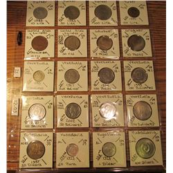 "(20) World Coins in 2"" x 2"" holders and plastic page from  Turkey, United Arab Emirates, Uruguay, Ve"
