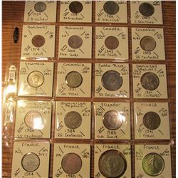 "(20) World Coins in 2"" x 2"" holders and plastic page from Austria, Bahamas, Canada, Colombia, Cost R"