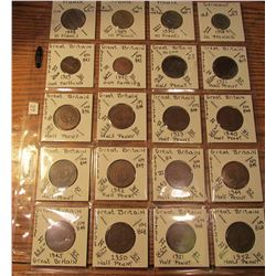 "(20) World Coins in 2"" x 2"" holders and plastic page from France, Germany, & Great Britain.  Total K"