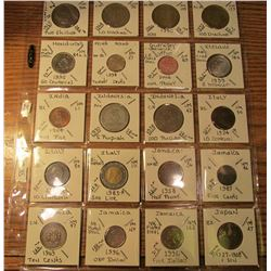 "(20) World Coins in 2"" x 2"" holders and plastic page from Great Britain, Greece, Honduras, Hong Kong"