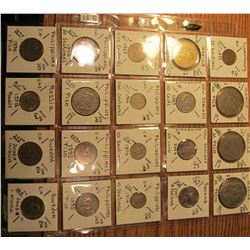 "(20) World Coins in 2"" x 2"" holders and plastic page from Luxembourg, Mexico, New Zealand, Panama, P"