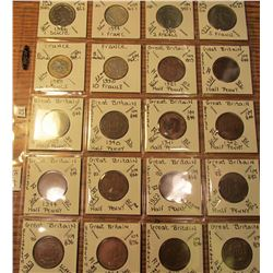 "(20) World Coins in 2"" x 2"" holders and plastic page from Ecuador, France, and Great Britain.   Tota"