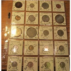 "(20) World Coins in 2"" x 2"" holders and plastic page from Great Britain, Guernsey, Hungary, Sweden,"