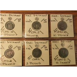 "(6) Nazi Germany 1 to 10 Pfennig Coins in 2"" x 2"" holders and plastic page."