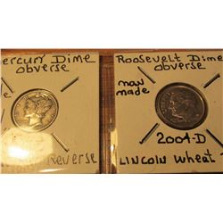 Out of the Mint made oddities. Wheat Cent reverse for a Mercury Dime; & Roosevelt Dime with a Wheat