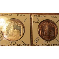 1972 Bronze and .999 fine Silver Terrace Hill Medallions. $30 book value.