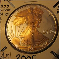 2006 Beautiful One Ounce .999 fine Silver American Eagle with 24K Gold highlights.