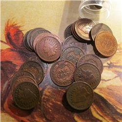 Roll of (50) Indian Head Cents in a Plastic tube. (20) date in 1800s & (30) in 1900s.