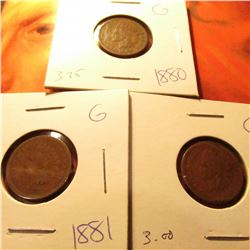 1880 G, 1881 G, & 1882 G Indian Cents. Grey Sheet $10.30.