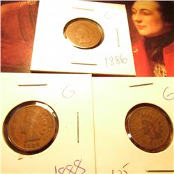 1886, 1888, & 1893 Good condition Indian Head Cents.