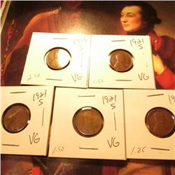 1916 S, (3) 21 S, & 27 S Lincoln Cents. VG.
