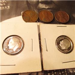 1926 P F, 70 S VF, 71 D EF Cents; & (2) 2007 S Silver Proof Roosevelt Dimes.