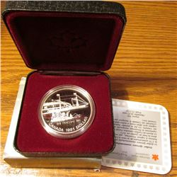 1816-1991 Frontenac Canada .500 fine Silver Proof Dollar in original Case as issued.