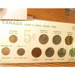 Canada Large and Small Nickel Types. Includes 1891 Fine, 1902H VF, 1911 VF Five Cent Silvers; 1932,