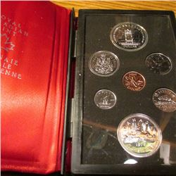 1977 Throne of the Senate Royal Canadian Proof Set with Silver Dollar as well as Voyageur Dollar. Or