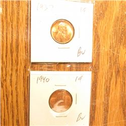 1937P, 40P, 41D, 42S, & 44S BU-Gem BU Lincoln Cents.