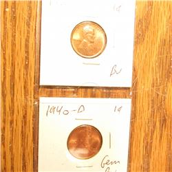 1938D, 40D, 41S, 43P, & 45D BU-Gem BU Lincoln Cents.