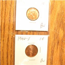 1938S, 40S, 42P, 43D, & 45S BU-Gem BU Lincoln Cents.