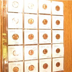 "(40) 1955 S BU-Gem BU Lincoln Cents. All in 2"" x 2"" holders and plastic pages."