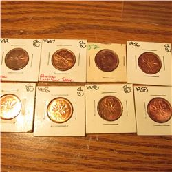 1944, 47, 52, (2) 56, & (2) 58 Canada Small Cents.BU- Gem BU.