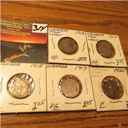Group of Canada Five Cent Silvers: 1912, 17, 18, 19, & 20. VG-F.