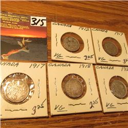 Group of Canada Five Cent Silvers: 1912, (2) 17, 18, & 20. All VG.