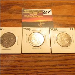 1923, 28, & 29 Canada Nickels. EF-AU. KM value $30.00.
