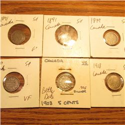 1891 G+, 1891 G, 1899 F, 1900 VF, 1903 VG, & 1918 EF Canada Five Cent Silvers.