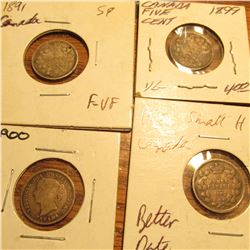 1891, 1899, 1900, & 1902 Small H Canada Five Cent Silvers. VG-F.