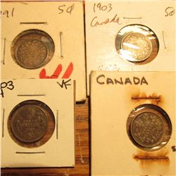 1891, 1903, 1903H, & 1905 Canada Five Cent Silvers. VG-F.