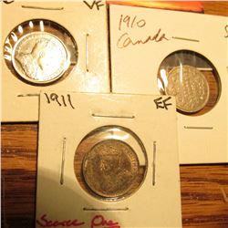 1906 VF, 1910 VG, & 1911 EF Canada Five Cent Silvers.