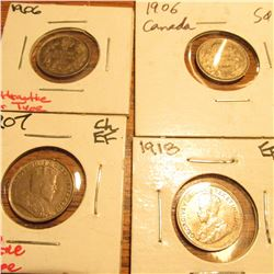 (2) 1906, 07, & 18 Canada Five Cent Silvers. All EF.