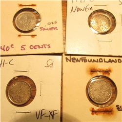 1940C, (2) 41C, & 43C Newfoundland, Canada Five Cent Silvers. All VF-AU.