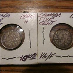 1880H & 1881H Canada Five Cents, VG.