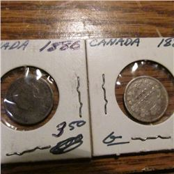 1880 & 1888 Canada Five Cents,  G.