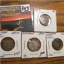 1897, 1898, 1899 & 1902 Canada Five Cents. AG-VF.