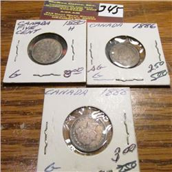 1880H, 1886 & 1888 Canada Five Cents. All G.