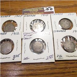 1907, 10, 11, 12, 13 &14Canada Five Cents.  All VG.