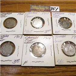 1910, 11, 12, 13, 14 & 16 Canada Five Cents. VG-VF.