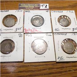 1910, 11, 12, 13, 15 & 17 Canada Five Cents. VG-VF.