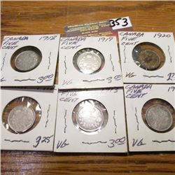 1912, 13, 17, 18, 19 & 20 Canada Five Cent, All VG.