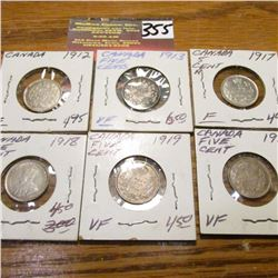 1912, 13, 17, 18, 19 & 20 Canada Five Cents. F-VF.